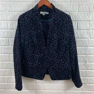 Boden Black Leopard Print Jacket Blazer 12